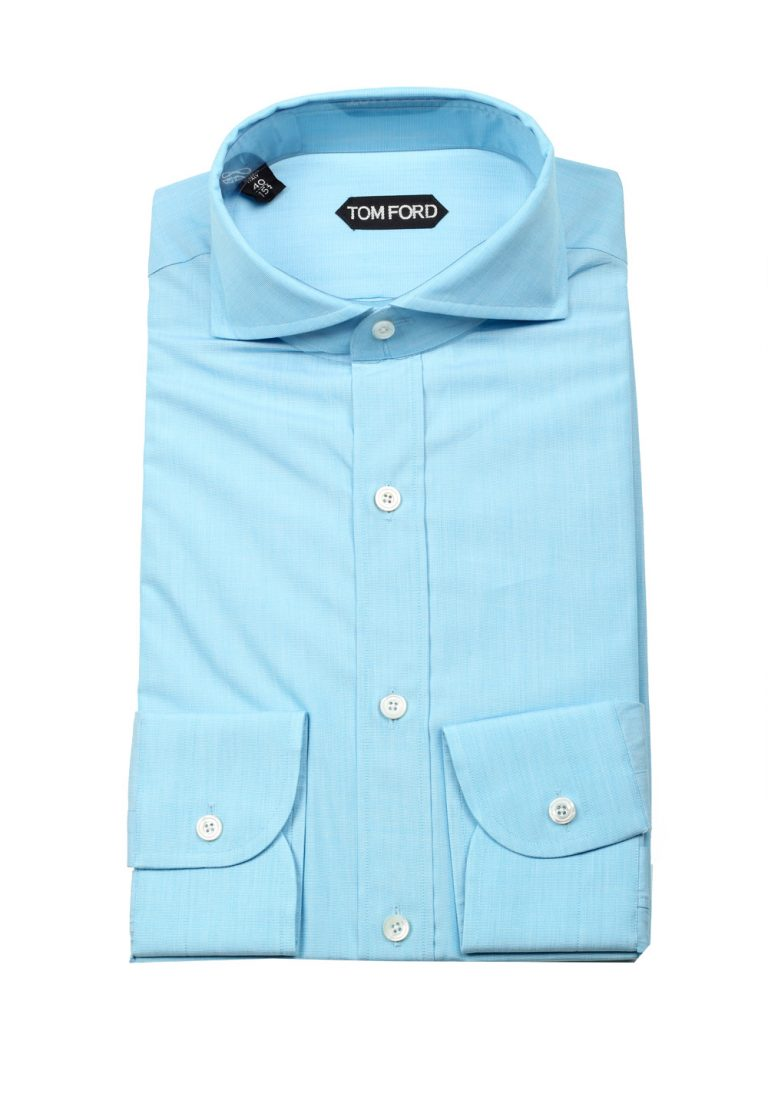 TOM FORD Solid Blue Dress Shirt Size 40 / 15,75 U.S. - thumbnail | Costume Limité