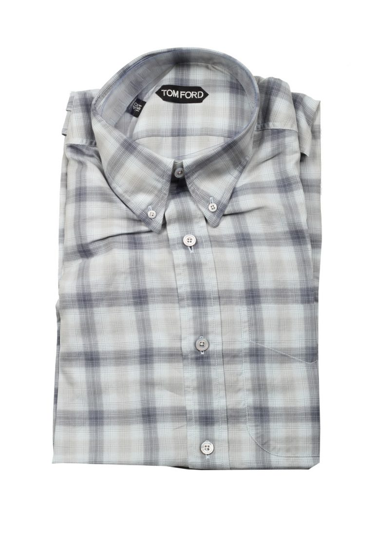 TOM FORD Checked Gray Casual Button Down Shirt Size 40 / 15,75 U.S. - thumbnail | Costume Limité