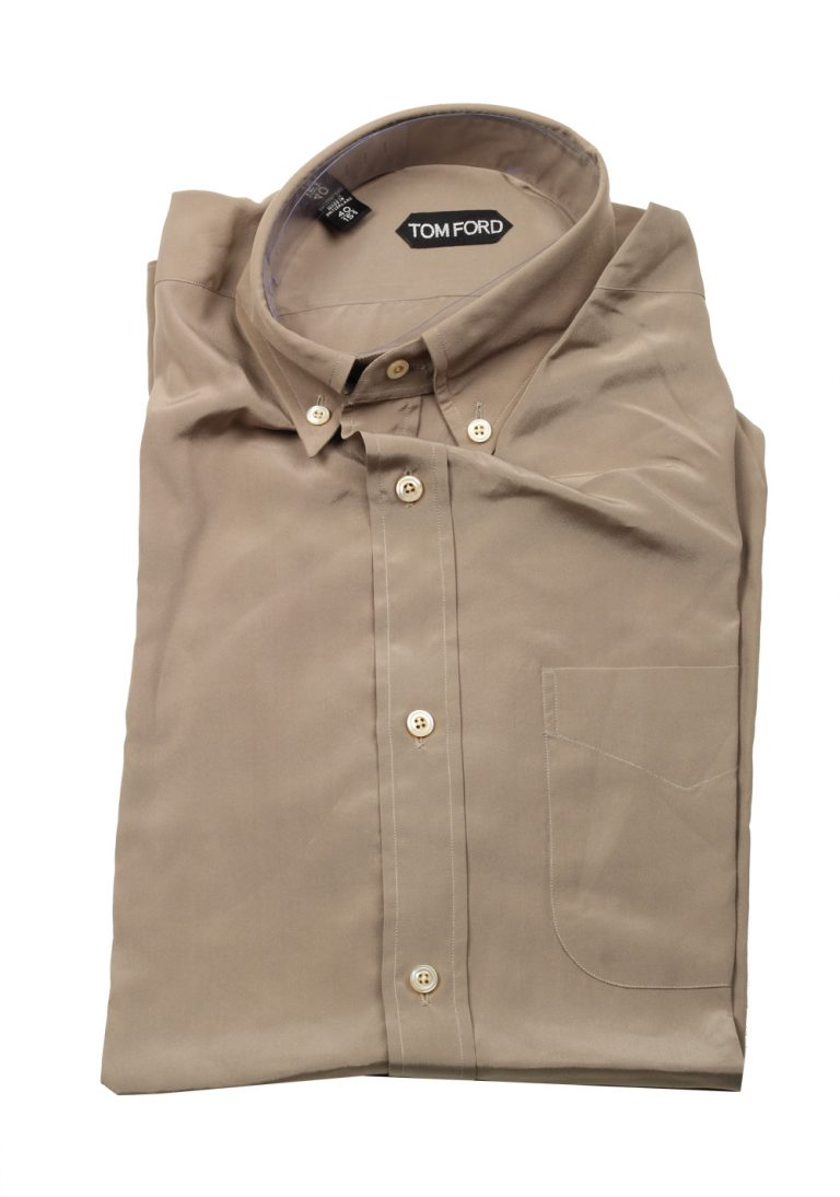TOM FORD Solid Brown Button Down Casual Shirt Size 40 / 15,75 U.S. In Silk - thumbnail | Costume Limité