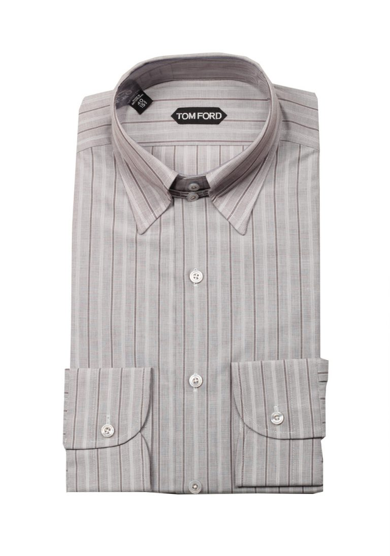 TOM FORD Striped Grayish Brown High Collar Dress Shirt Size 40 / 15,75 U.S. - thumbnail | Costume Limité