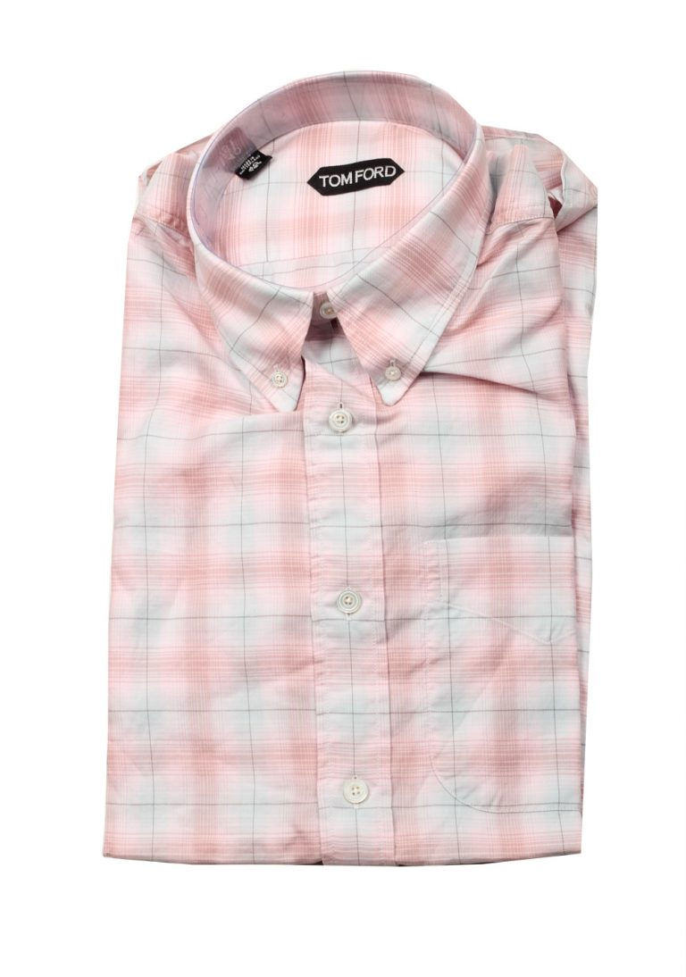 TOM FORD Checked White Pink Casual Button Down Shirt Size 40 / 15,75 U.S. - thumbnail | Costume Limité