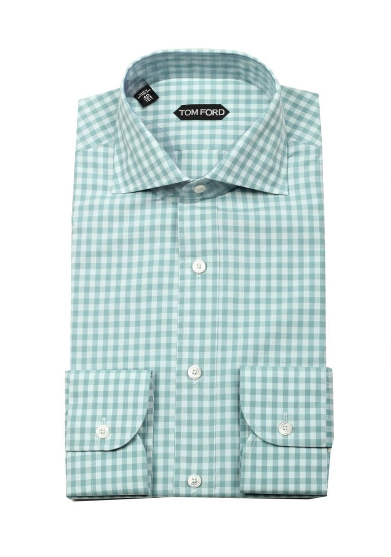 TOM FORD Checked Green Dress Shirt Size 40 / 15,75 U.S. - thumbnail | Costume Limité