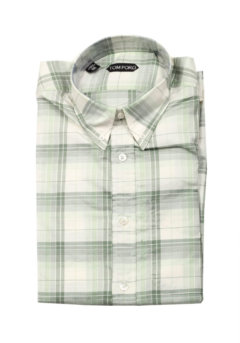 TOM FORD Checked Green Casual Button Down Shirt Size 40 / 15,75 U.S. - thumbnail | Costume Limité