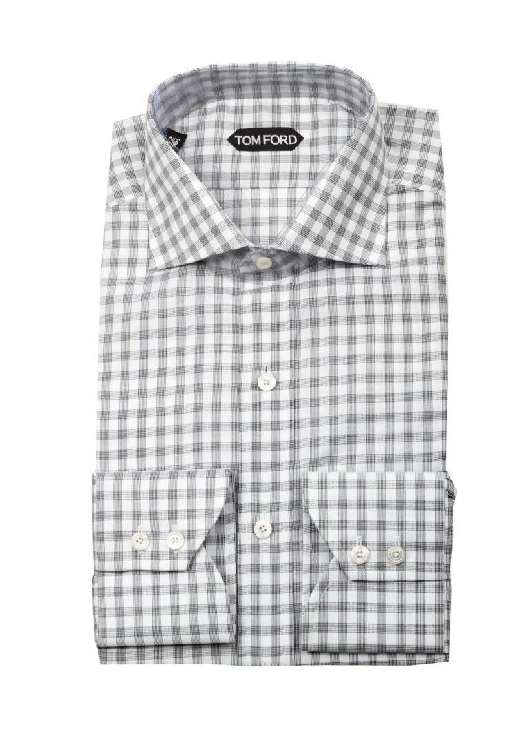 TOM FORD Checked Gray Dress Shirt Size 42 / 16,5 U.S. - thumbnail | Costume Limité