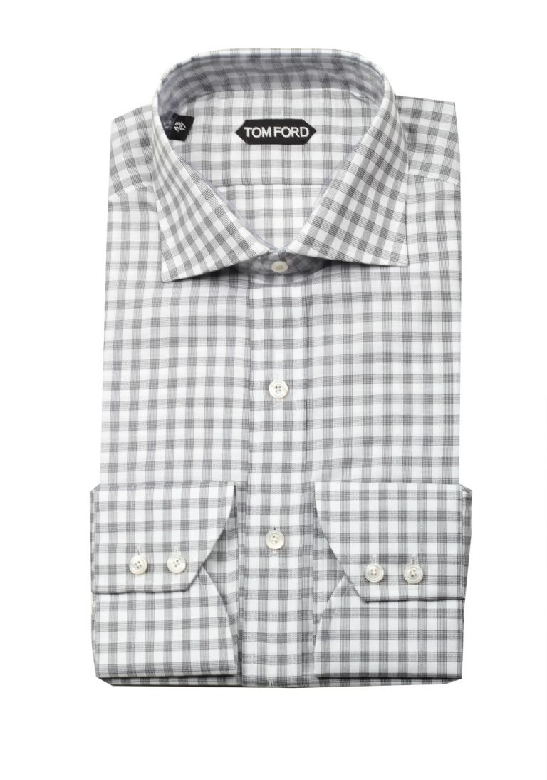 TOM FORD Checked Gray Dress Shirt Size 43 / 17 U.S. - thumbnail | Costume Limité