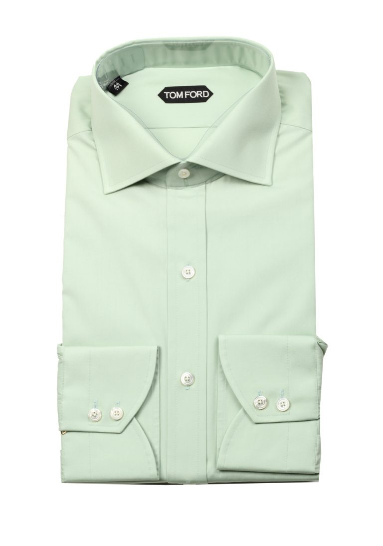 TOM FORD Solid Blue Green Shirt Size 44 / 17,5 U.S. - thumbnail | Costume Limité