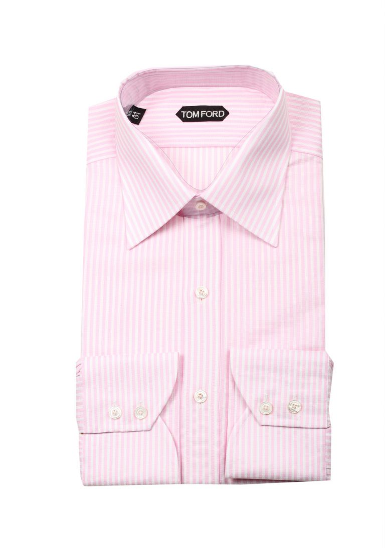 TOM FORD Striped Pink White Dress Shirt Size 44 / 17,5 U.S. - thumbnail | Costume Limité