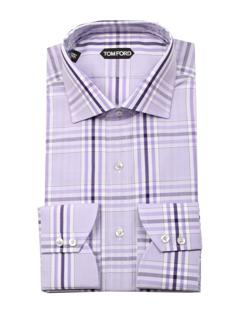 TOM FORD Checked Lilac Dress Shirt Size 45 / 17,75 U.S. - thumbnail | Costume Limité