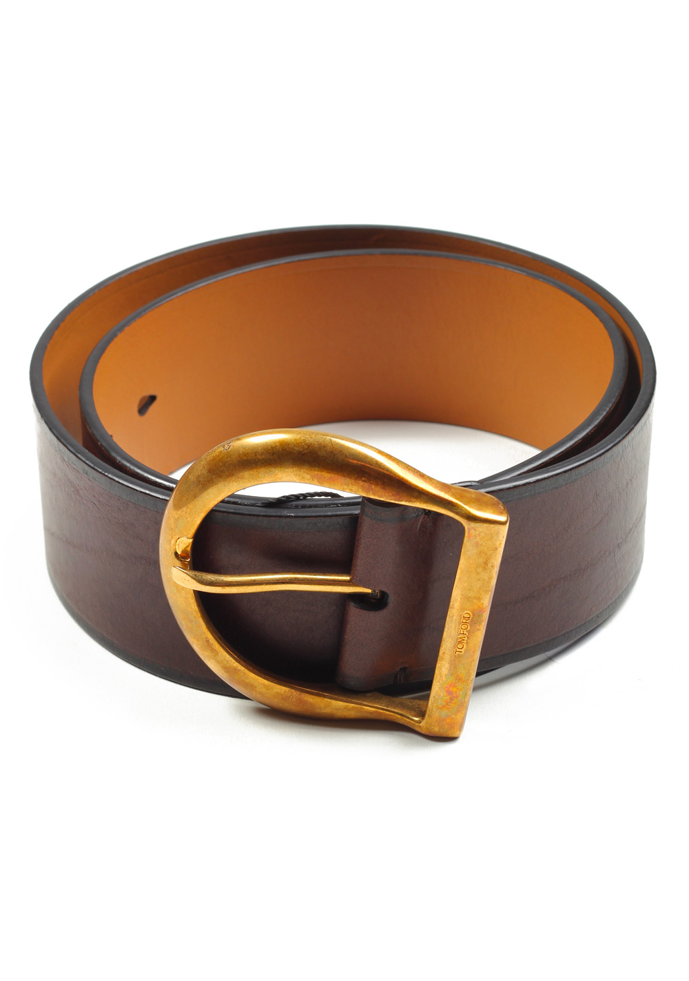 TOM FORD Brown Casual Leather Brass Belt Size 105 / 38 U.S. | Costume Limité