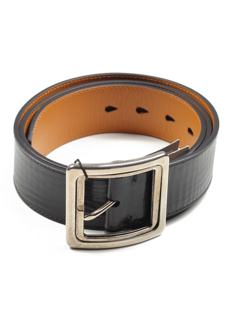 TOM FORD Black Casual Leather Silver Belt Size 120 / 44 U.S. - thumbnail | Costume Limité
