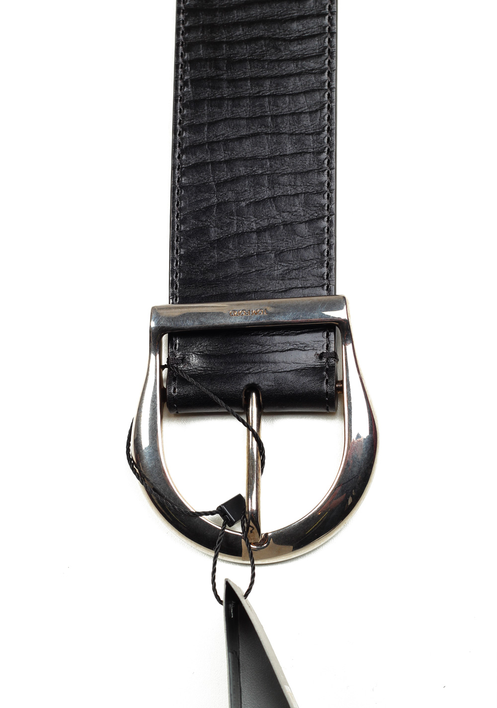 TOM FORD Black Casual Leather Silver Belt Size 100 / 36 U.S.   Costume Limité
