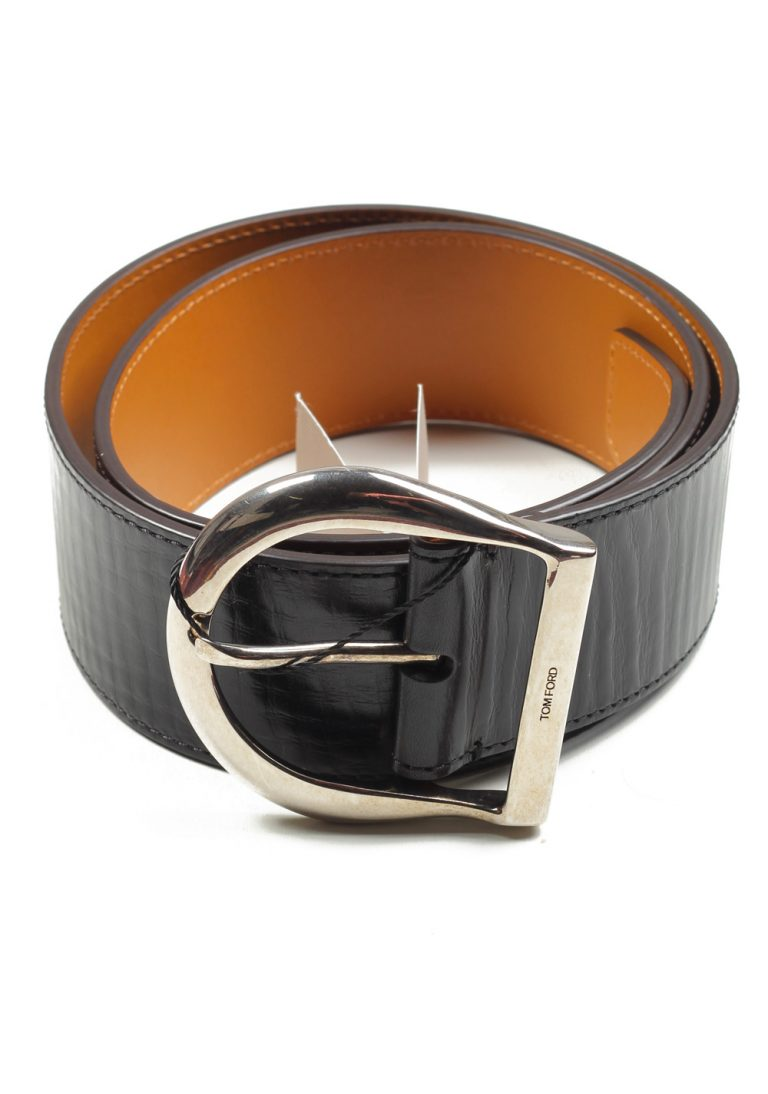 TOM FORD Black Casual Leather Silver Belt Size 105 / 38 U.S. - thumbnail | Costume Limité