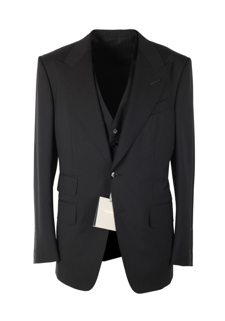 TOM FORD Shelton Black 3 Piece Suit Size 52 / 42R U.S. Wool - thumbnail | Costume Limité