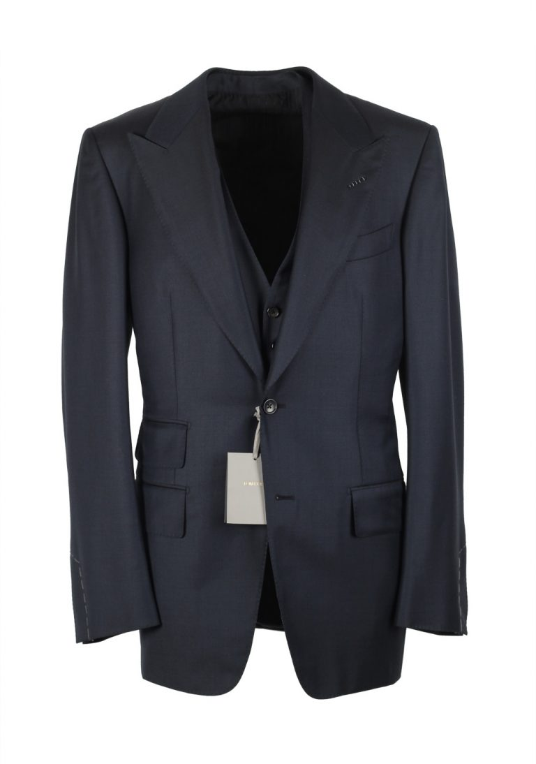 TOM FORD Windsor Blue 3 Piece Suit Size 52 / 42R U.S. Wool Fit A - thumbnail | Costume Limité