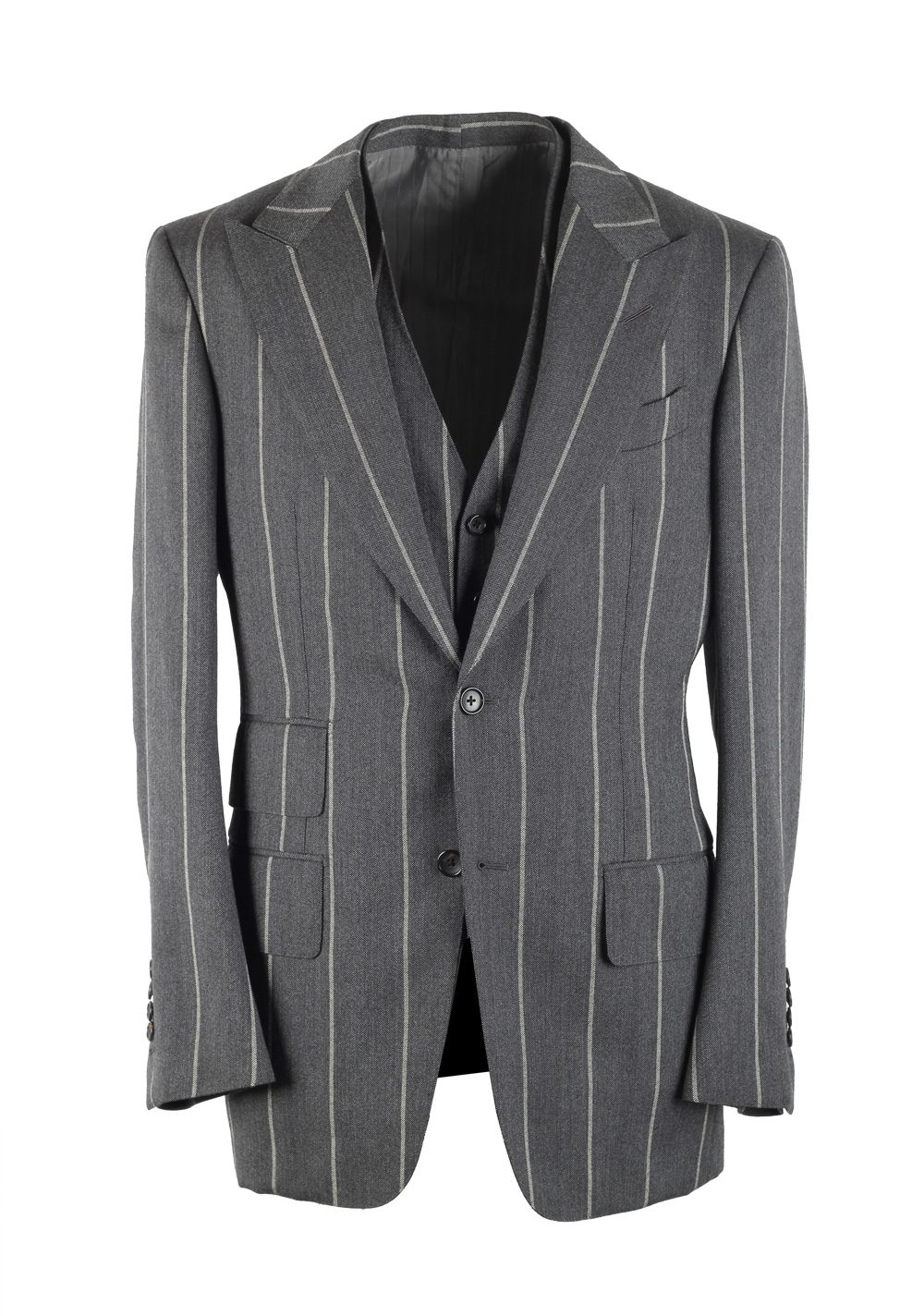 TOM FORD Spencer Striped Gray 3 Piece Suit Size 48 / 38R U.S. Wool Fit D | Costume Limité