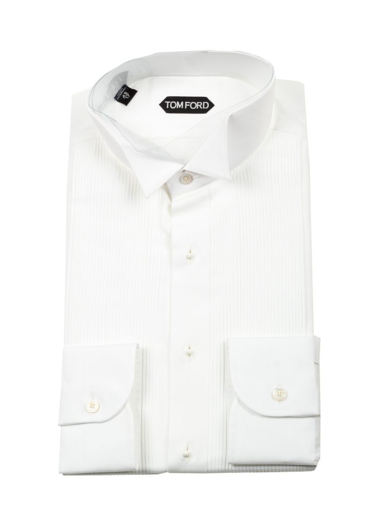 TOM FORD Solid White Tuxedo Shirt Size 43 / 17 U.S. - thumbnail | Costume Limité