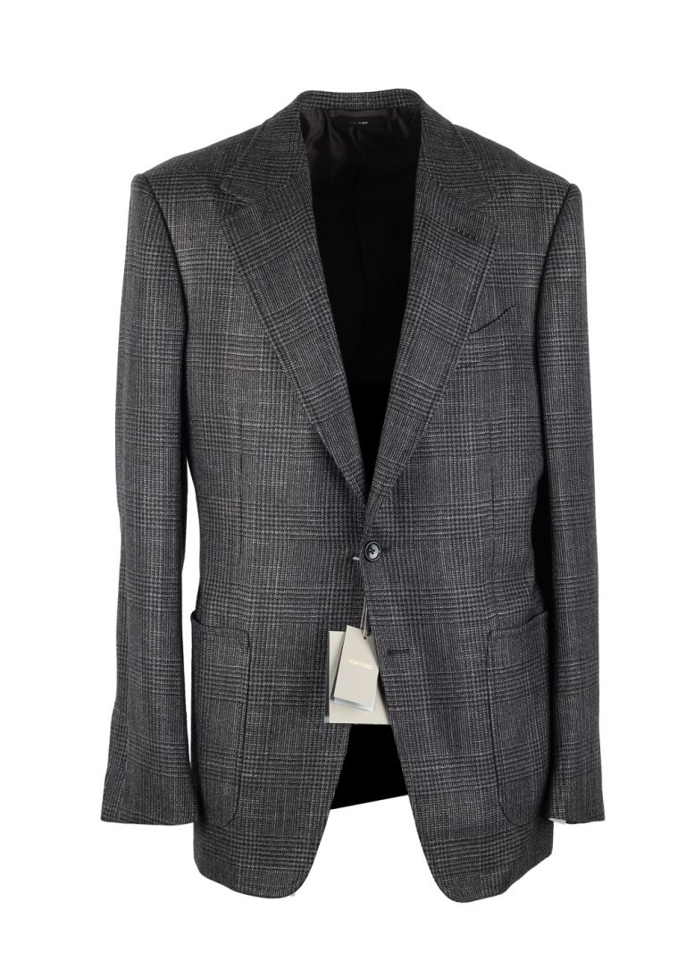 TOM FORD Shelton Checked Gray Sport Coat Size 52 / 42R U.S. In Cashmere Silk - thumbnail | Costume Limité