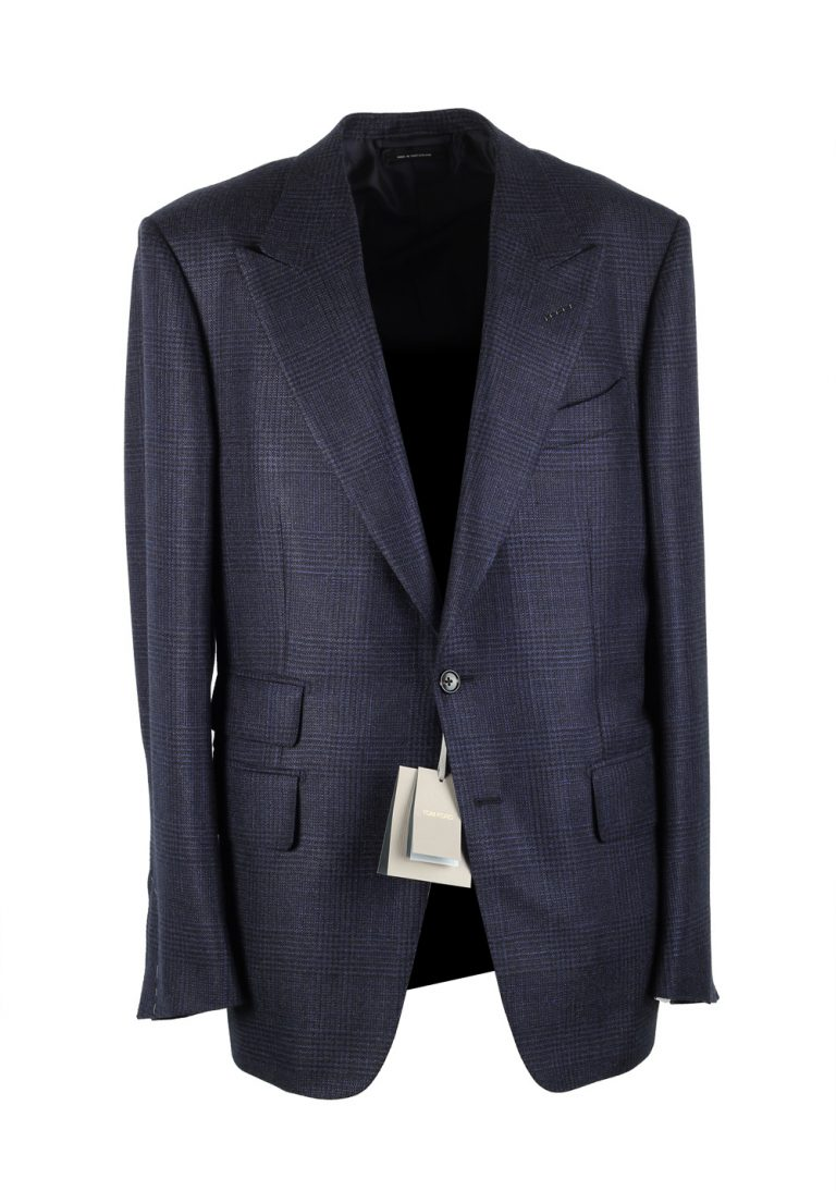 TOM FORD Shelton Checked Blue Sport Coat Size 52 / 42R U.S. In Cashmere Silk - thumbnail | Costume Limité