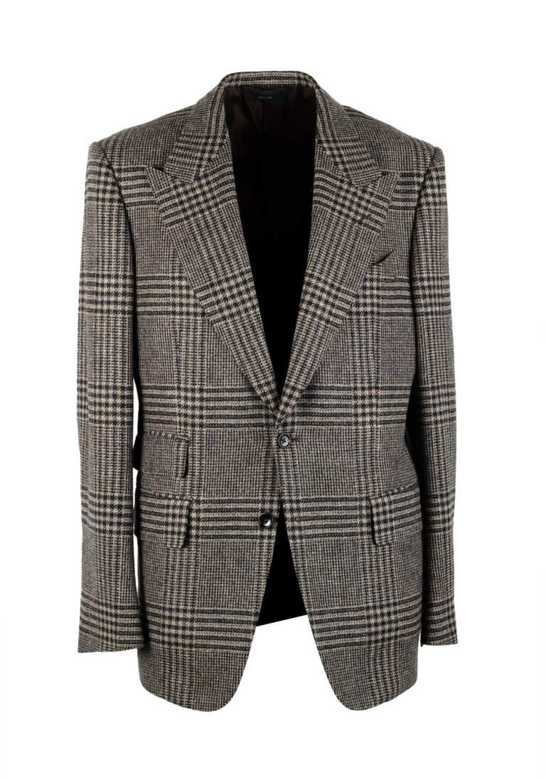TOM FORD Shelton Checked Brown Sport Coat Size 54 / 44R U.S. In Wool Cashmere - thumbnail | Costume Limité