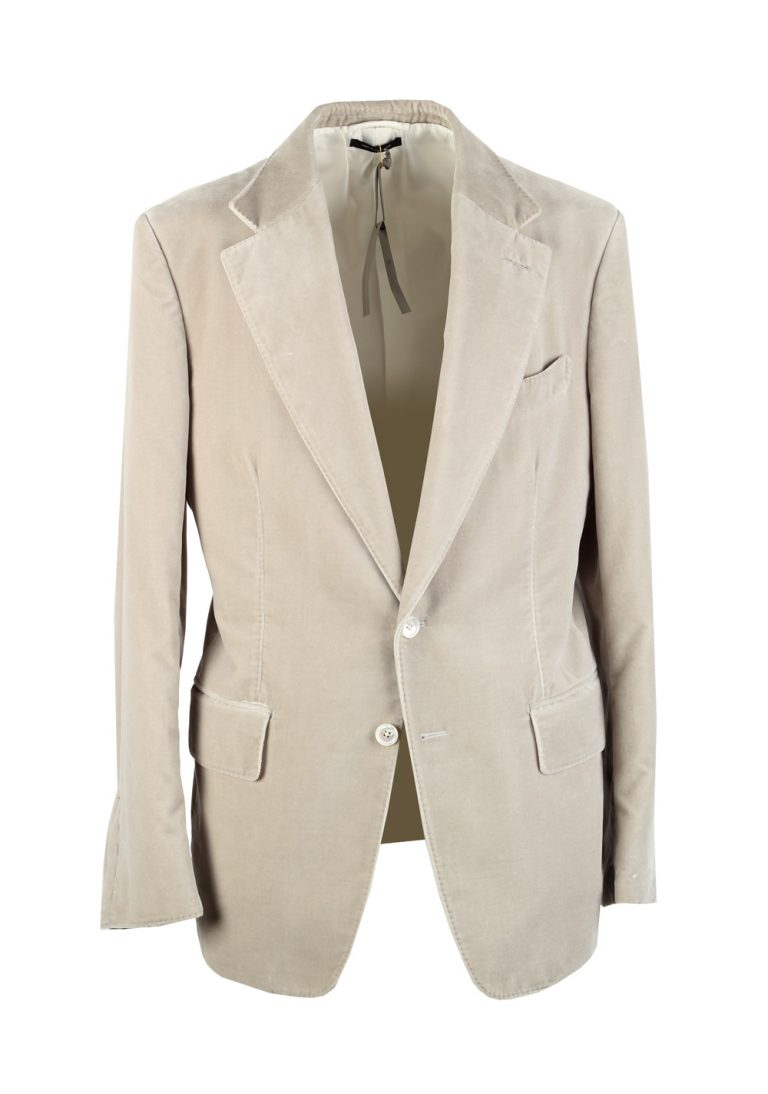 TOM FORD Shelton Velvet Beige Sport Coat Size 50 / 40R U.S. Cotton - thumbnail | Costume Limité