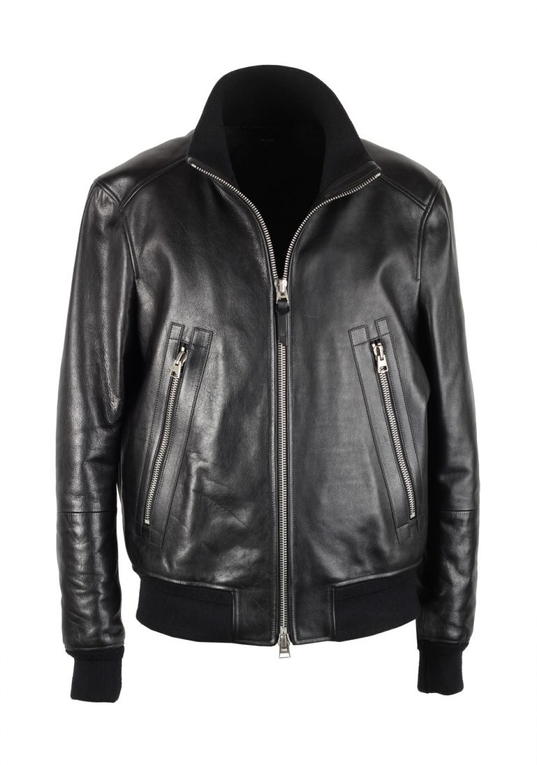 TOM FORD Black Leather Jacket Coat Size 52 / 42R U.S. Outerwear - thumbnail | Costume Limité