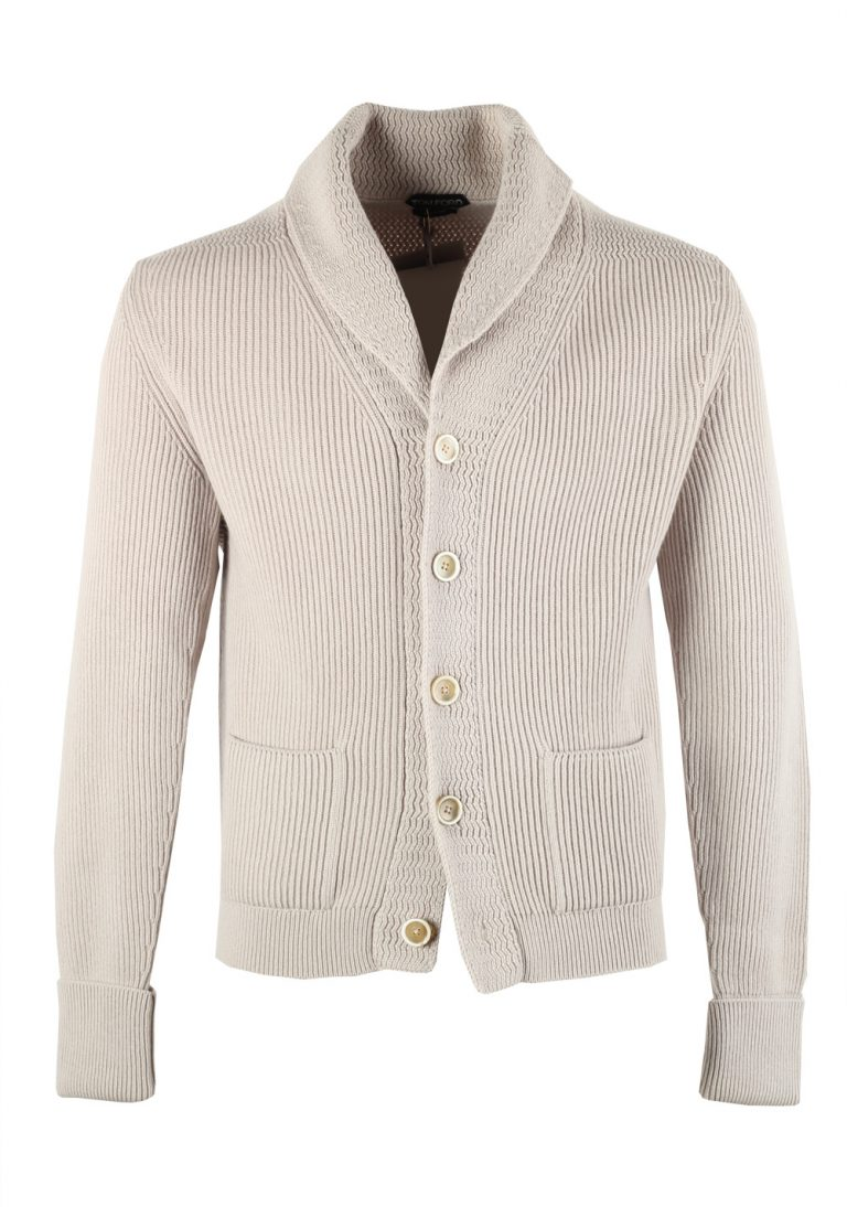 TOM FORD Beige Shawl Collar Cardigan 007 / McQueen Size 52 / 42R U.S. in Cashmere - thumbnail | Costume Limité