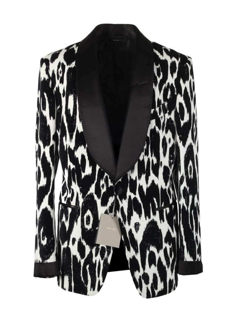 TOM FORD Shelton Flocked Animalier Tuxedo Dinner Jacket Size 50 / 40R U.S. - thumbnail | Costume Limité