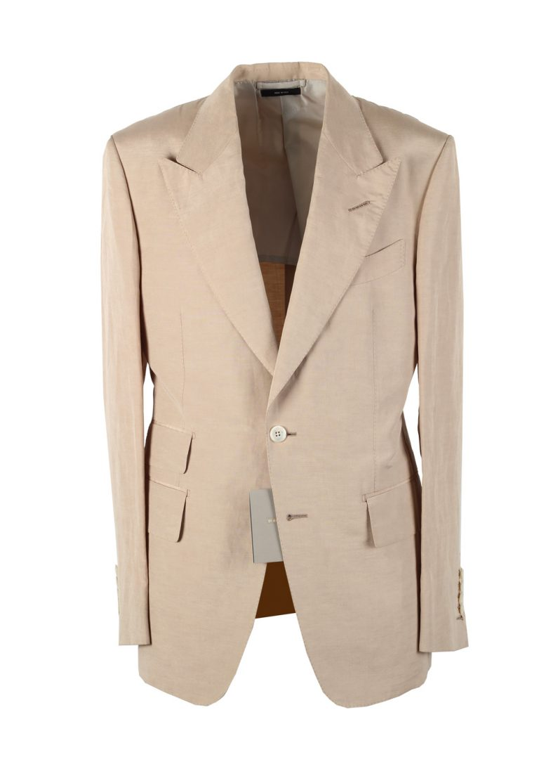 TOM FORD Shelton Beige Suit Size 48 / 38R U.S. In Linen Silk - thumbnail | Costume Limité