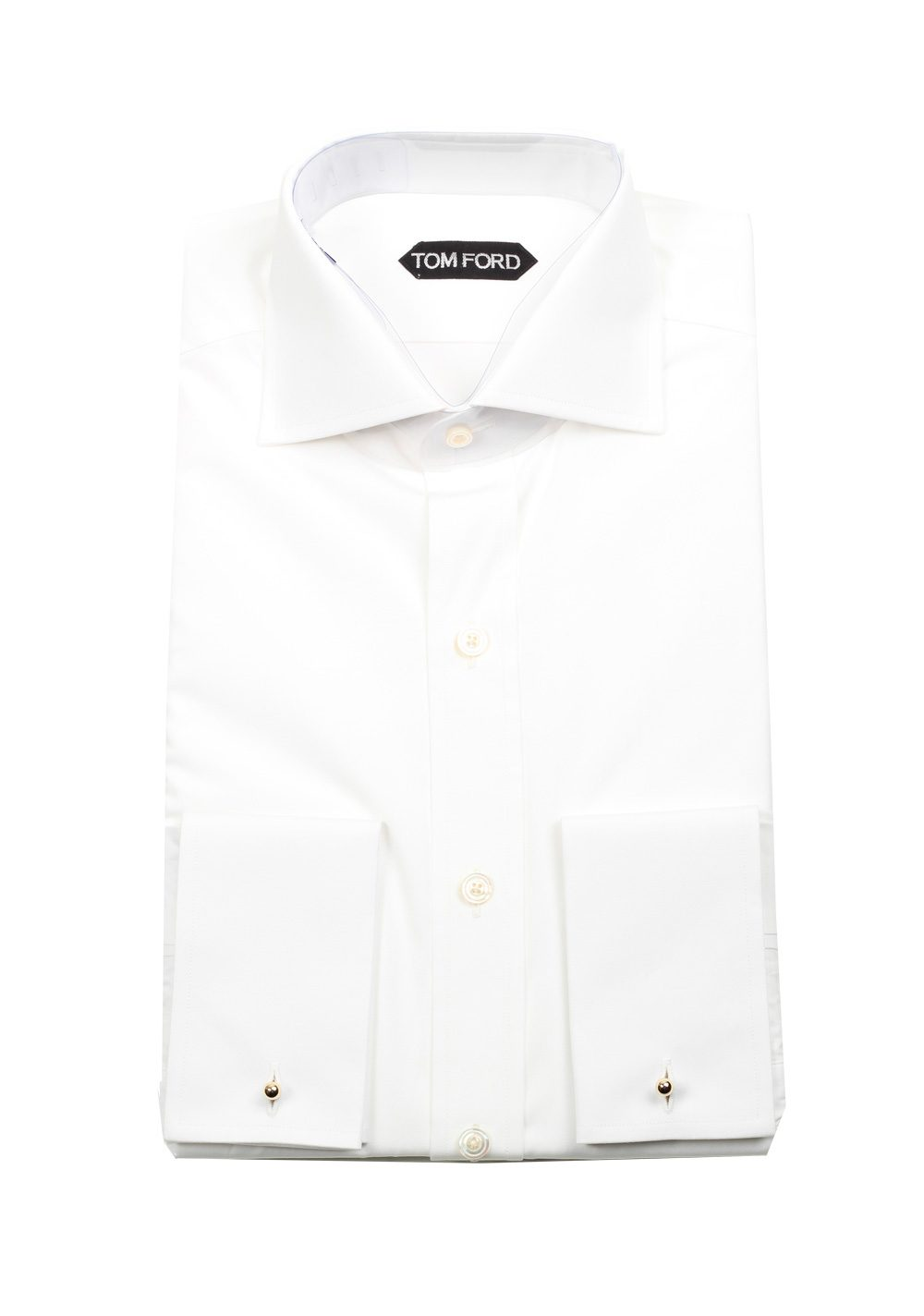 21d80af0170 TOM FORD Solid White Dress Shirt French Cuffs Size 44 / 17,5 U.S. Slim Fit  | Costume Limité