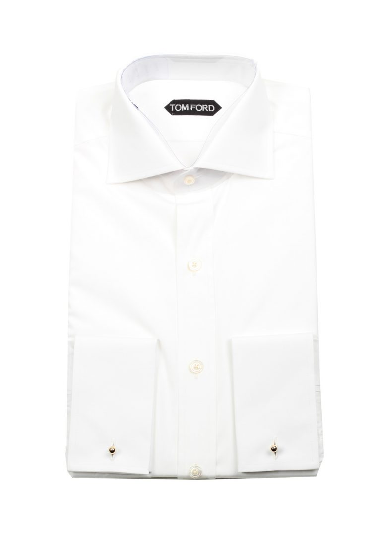 TOM FORD Solid White Dress Shirt French Cuffs Size 44 / 17,5 U.S. Slim Fit - thumbnail | Costume Limité