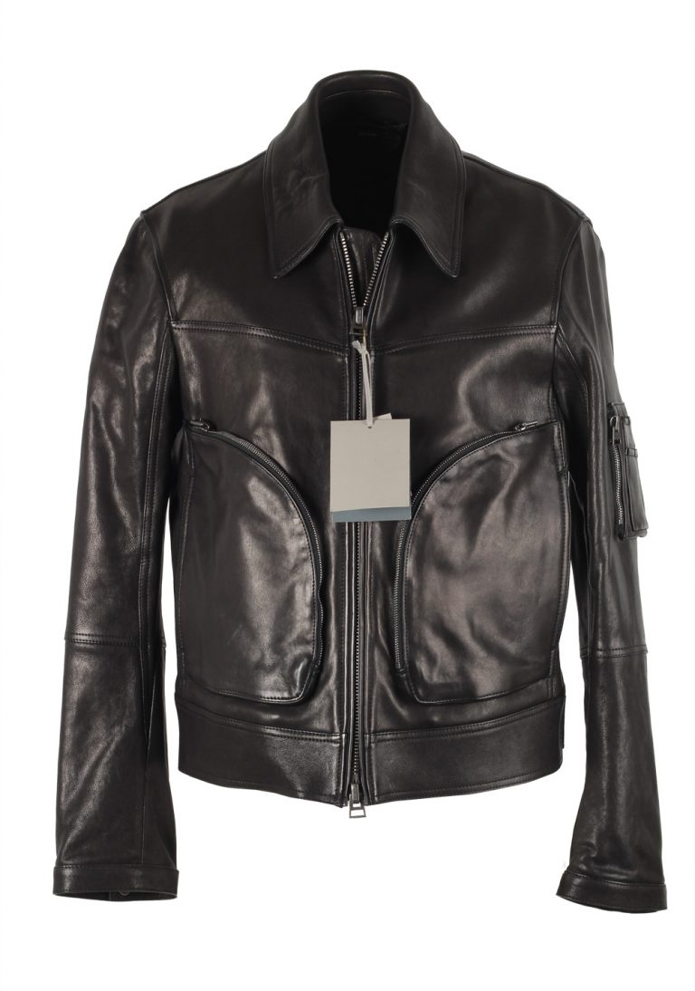 TOM FORD Black Leather Biker Coat Jacket Size 50 / 40R U.S. Outerwear - thumbnail | Costume Limité