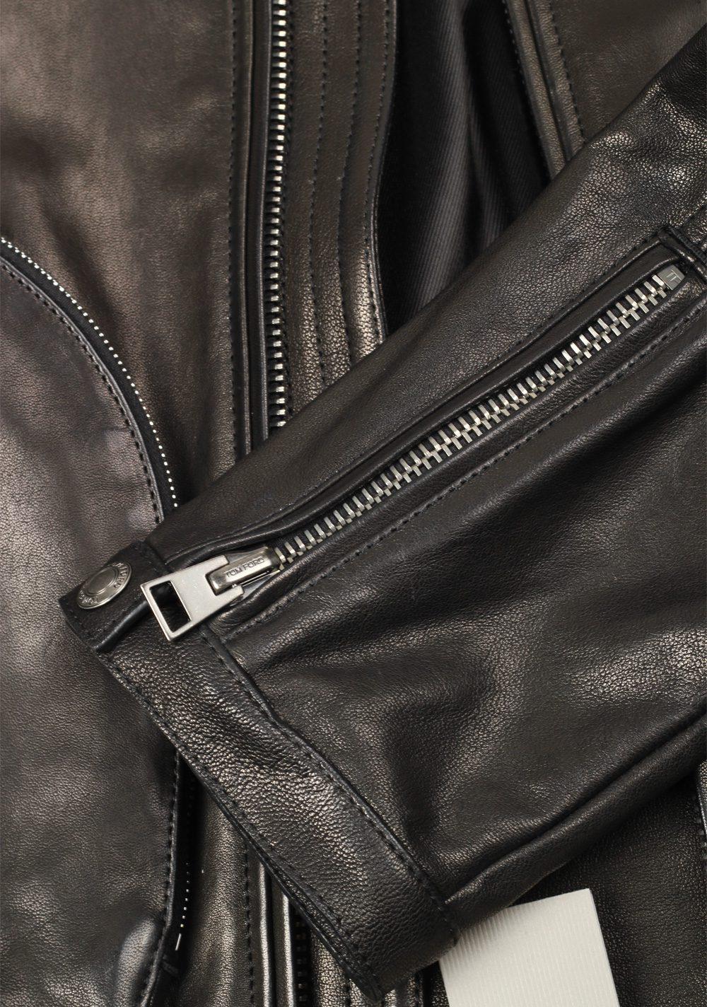 TOM FORD Black Leather Biker Coat Jacket Size 50 / 40R U.S. Outerwear | Costume Limité
