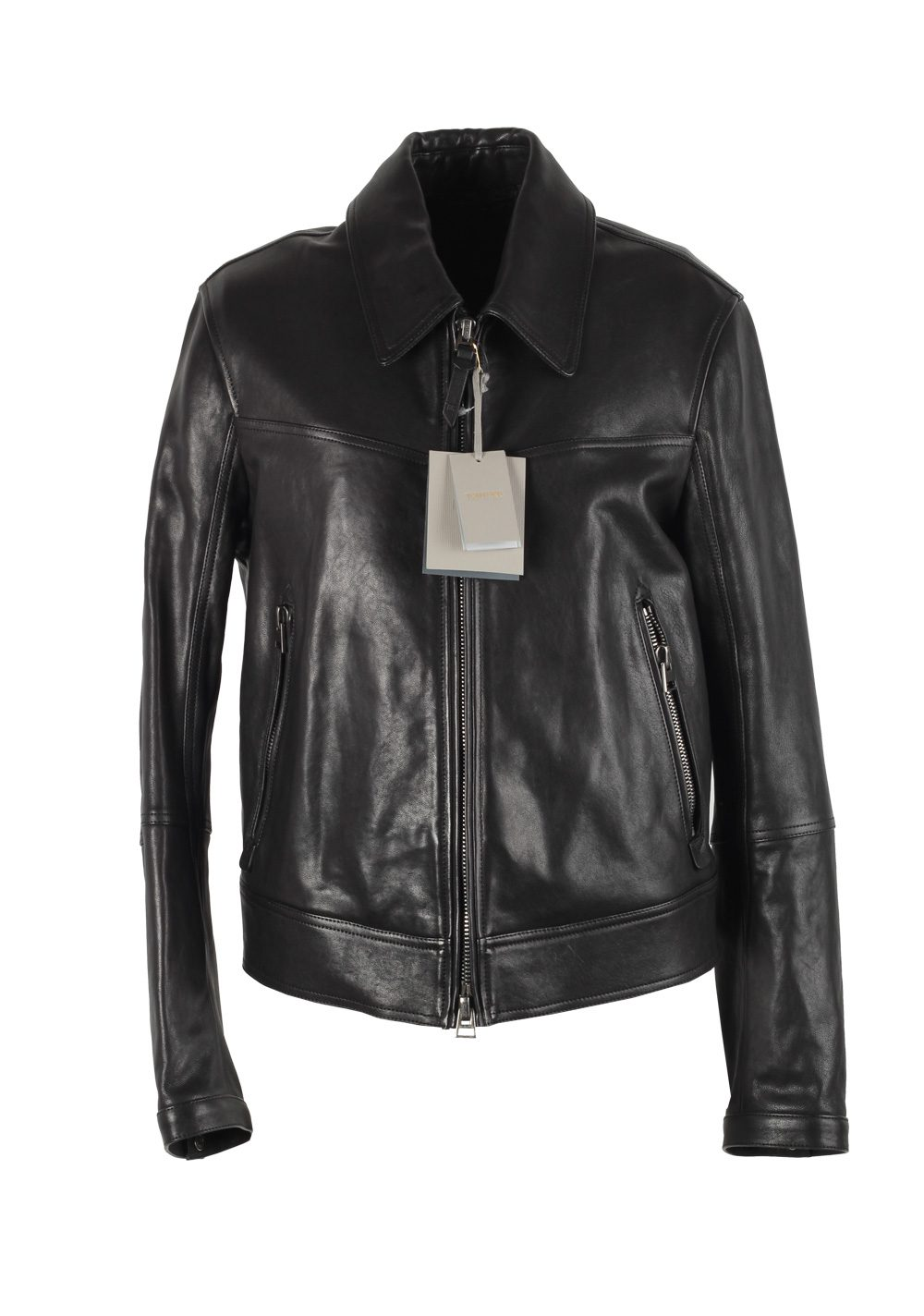 TOM FORD Black Leather Biker Coat Jacket Size 50 / 40R U.S. Outerwear | Costume Limité