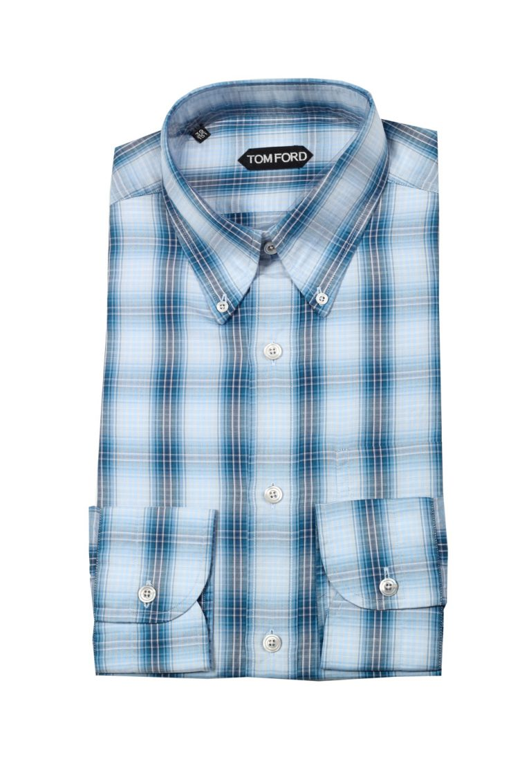 TOM FORD Checked Blue Button Down Casual Shirt Size 39 / 15,5 U.S. - thumbnail | Costume Limité