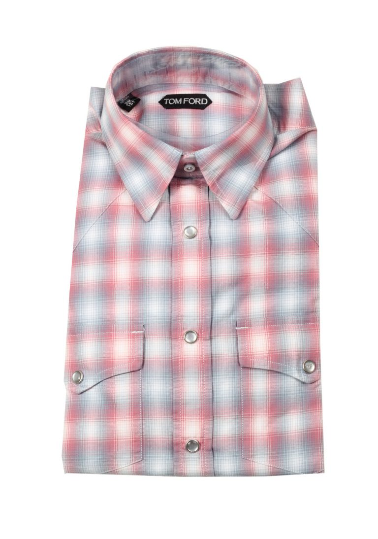 TOM FORD Checked Red Blue Western Casual Shirt Size 39 / 15,5 U.S. - thumbnail | Costume Limité