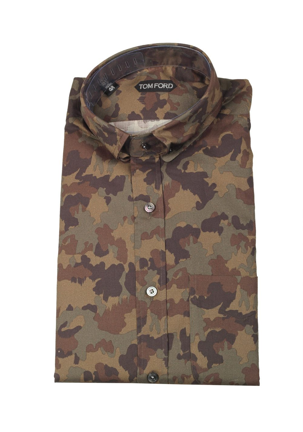 TOM FORD Green Camouflage Casual Shirt Size 42 / 16,5 U.S. | Costume Limité
