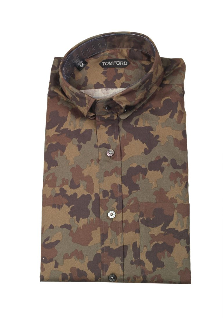 TOM FORD Green Camouflage Casual Shirt Size 42 / 16,5 U.S. - thumbnail | Costume Limité