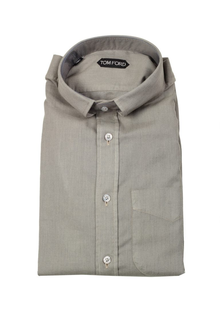 TOM FORD Solid Gray Casual Shirt Size 42 / 16,5 U.S. - thumbnail | Costume Limité