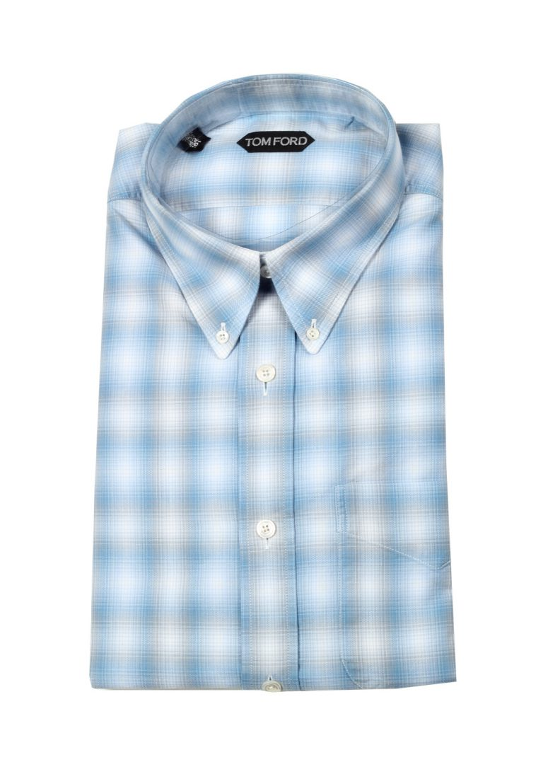 TOM FORD Checked Blue Button Down Casual Shirt Size 42 / 16,5 U.S. - thumbnail | Costume Limité