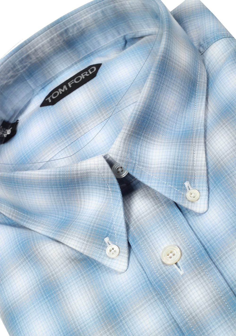 TOM FORD Checked Blue Button Down Casual Shirt Size 42 / 16,5 U.S. | Costume Limité