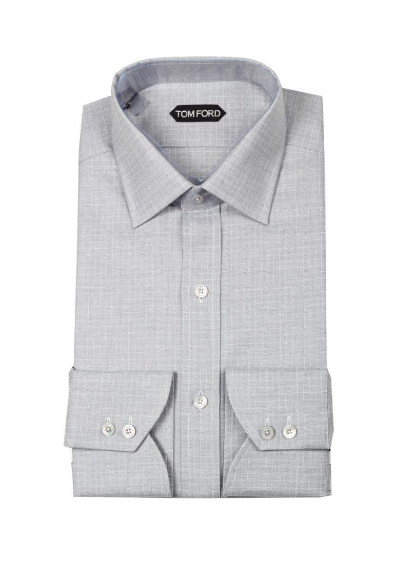 TOM FORD Patterned Gray Dress Shirt Size 43 / 17 U.S. - thumbnail | Costume Limité