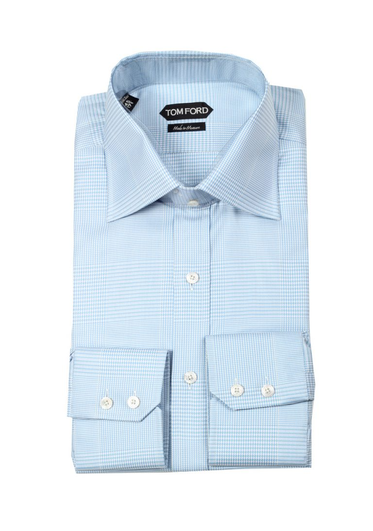 TOM FORD Checked Blue Dress Shirt Size 45 / 17,75 U.S. - thumbnail | Costume Limité