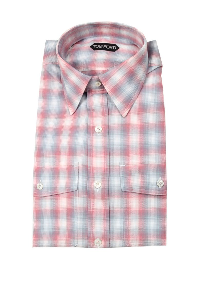 TOM FORD Checked Red / Blue Casual Shirt Size 45 / 17,75 U.S. - thumbnail | Costume Limité