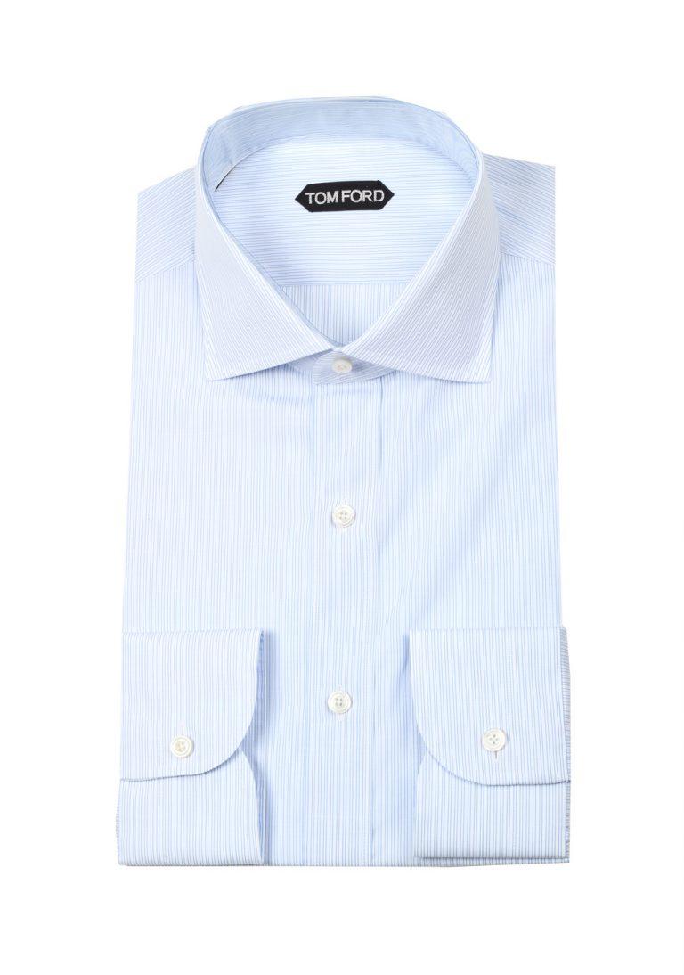 TOM FORD Striped Blue White Dress Shirt Size 45 / 17,75 U.S. - thumbnail | Costume Limité