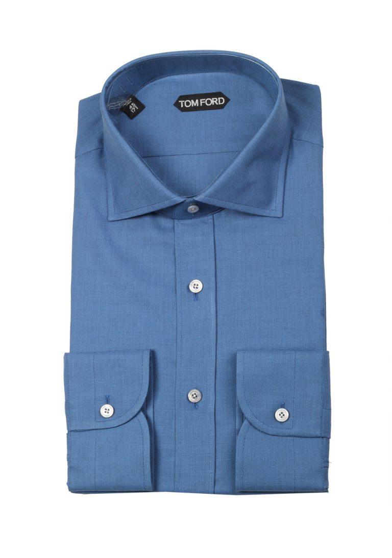 TOM FORD Solid Blue Dress Shirt Size 45 / 18 U.S. - thumbnail | Costume Limité