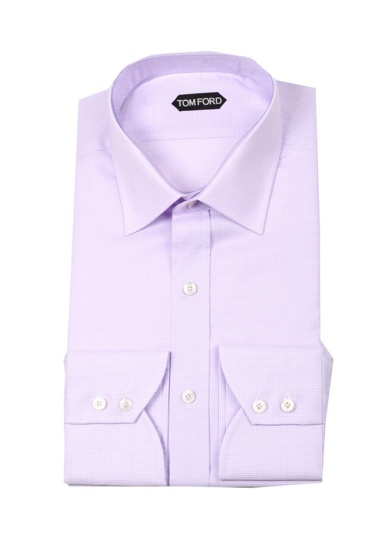 TOM FORD Patterned Lilac Dress Shirt Size 45 / 17,75 U.S. - thumbnail | Costume Limité