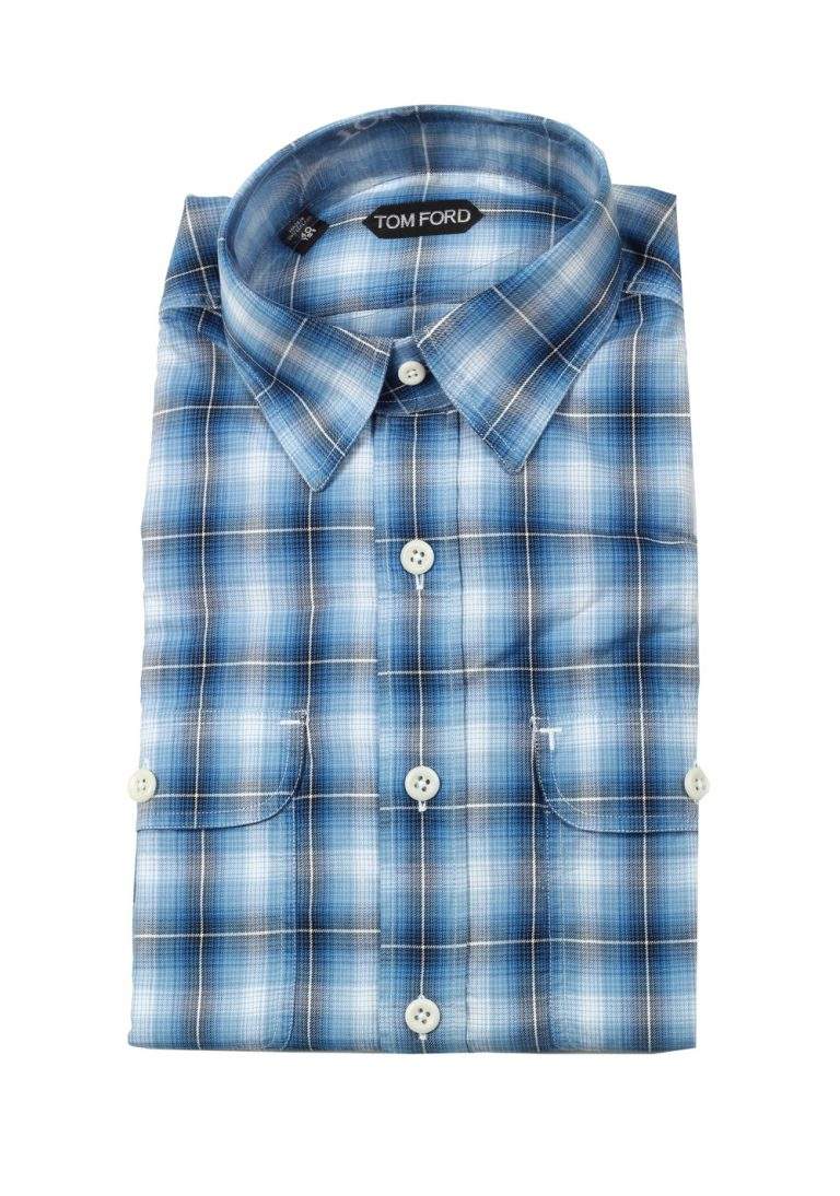 TOM FORD Checked Blue Western Casual Shirt Size 40 / 15,75 U.S. - thumbnail | Costume Limité