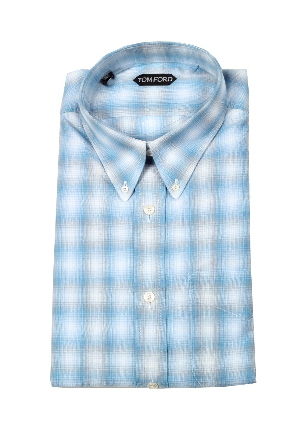 TOM FORD Checked White Blue Button Down Casual Shirt Size 40 / 15,75 U.S. | Costume Limité