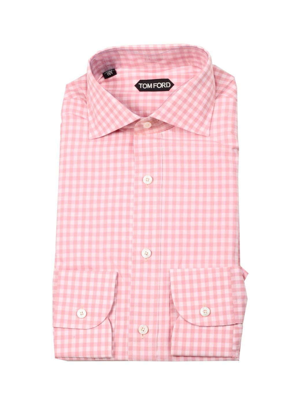 TOM FORD Checked White Pink Dress Shirt Size 40 / 15,75 U.S. | Costume Limité