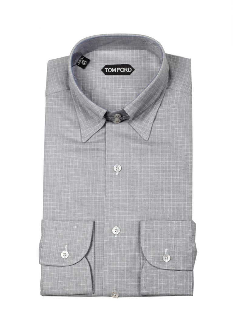 TOM FORD Checked Gray High Collar Dress Shirt Size 40 / 15,75 U.S. - thumbnail | Costume Limité